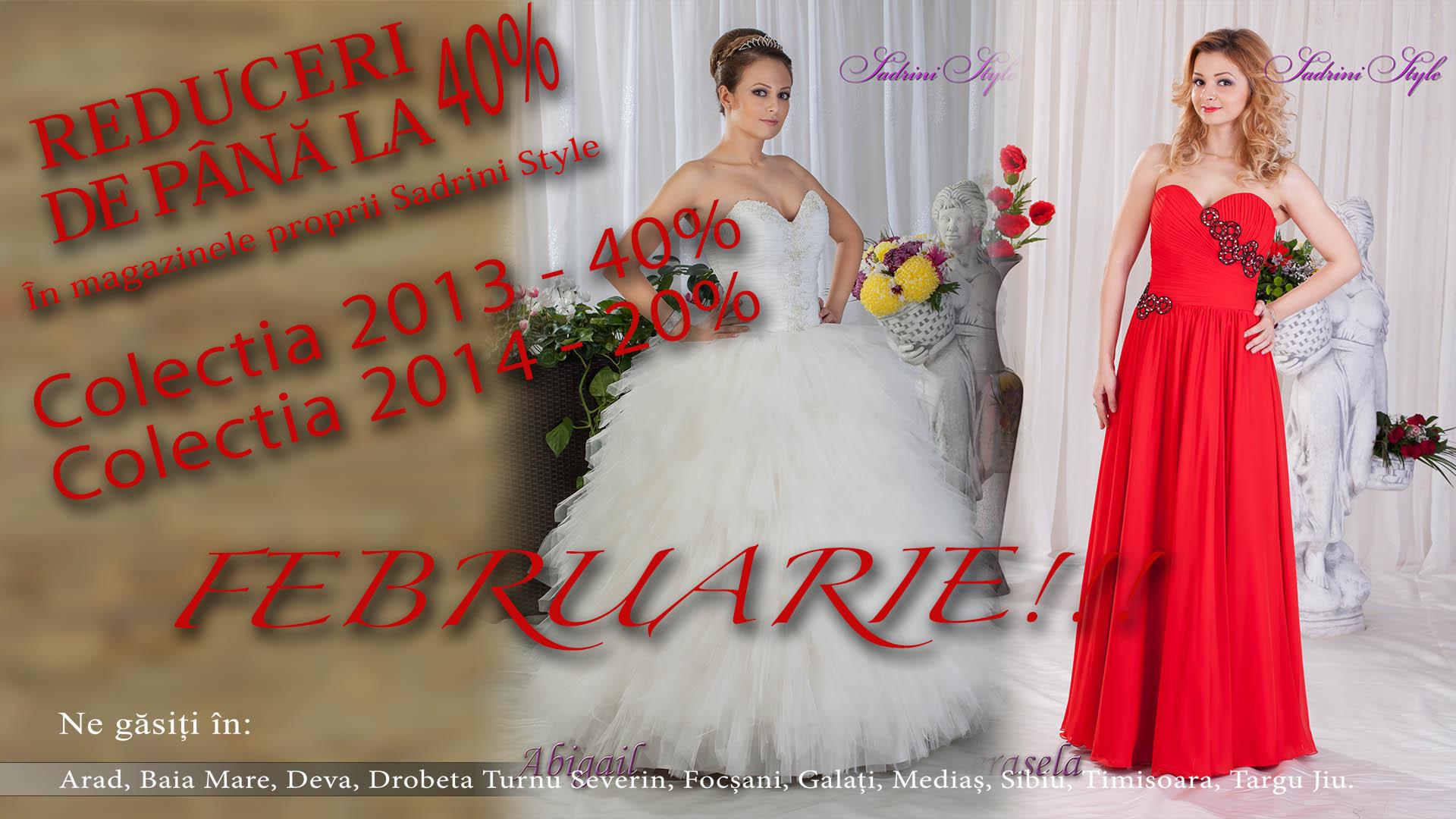 Reducere rochii de mireasa si ocazie luna februarie